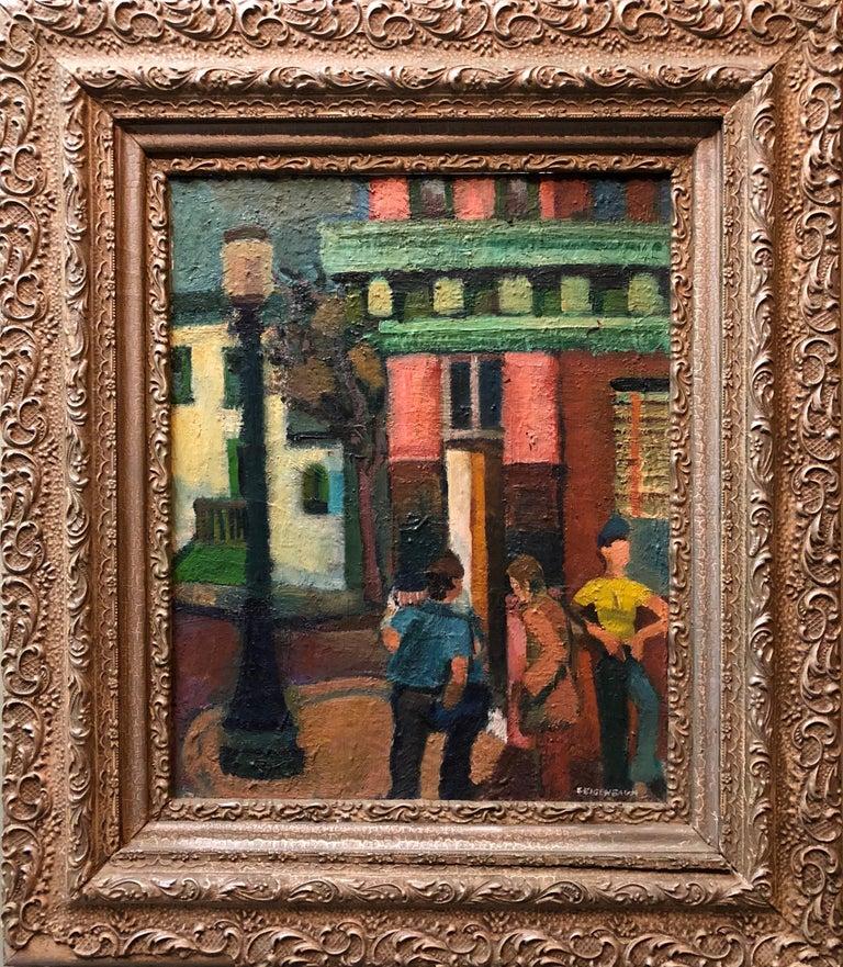 Street Corner Mid Century Modernist Street Scene Oil Painting WPA Era