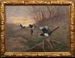 Study Of Magpies In A Landscape, circa 1900