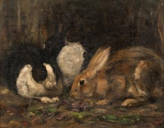 Study Of Rabbits Eating, early 20th century   English School