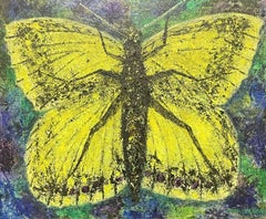 STUNNING 1970'S FRENCH EXPRESSIONIST SIGNED OIL - GIANT BUTTERFLY/ MOTH PAINTING