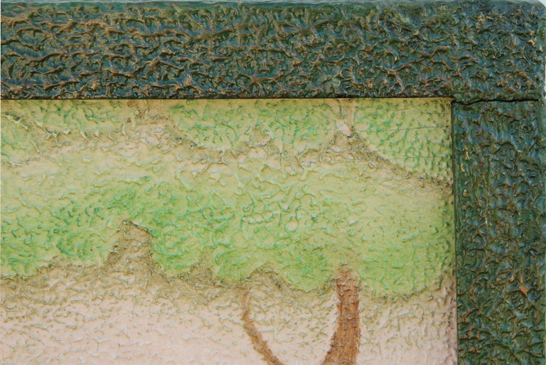 Stylized Impasto Deco Jungle Painting of Leopard & Waterfall in Green Frame For Sale 3