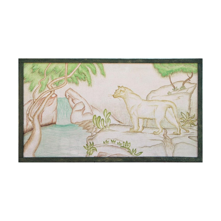 Unknown Animal Painting - Stylized Impasto Deco Jungle Painting of Leopard & Waterfall in Green Frame