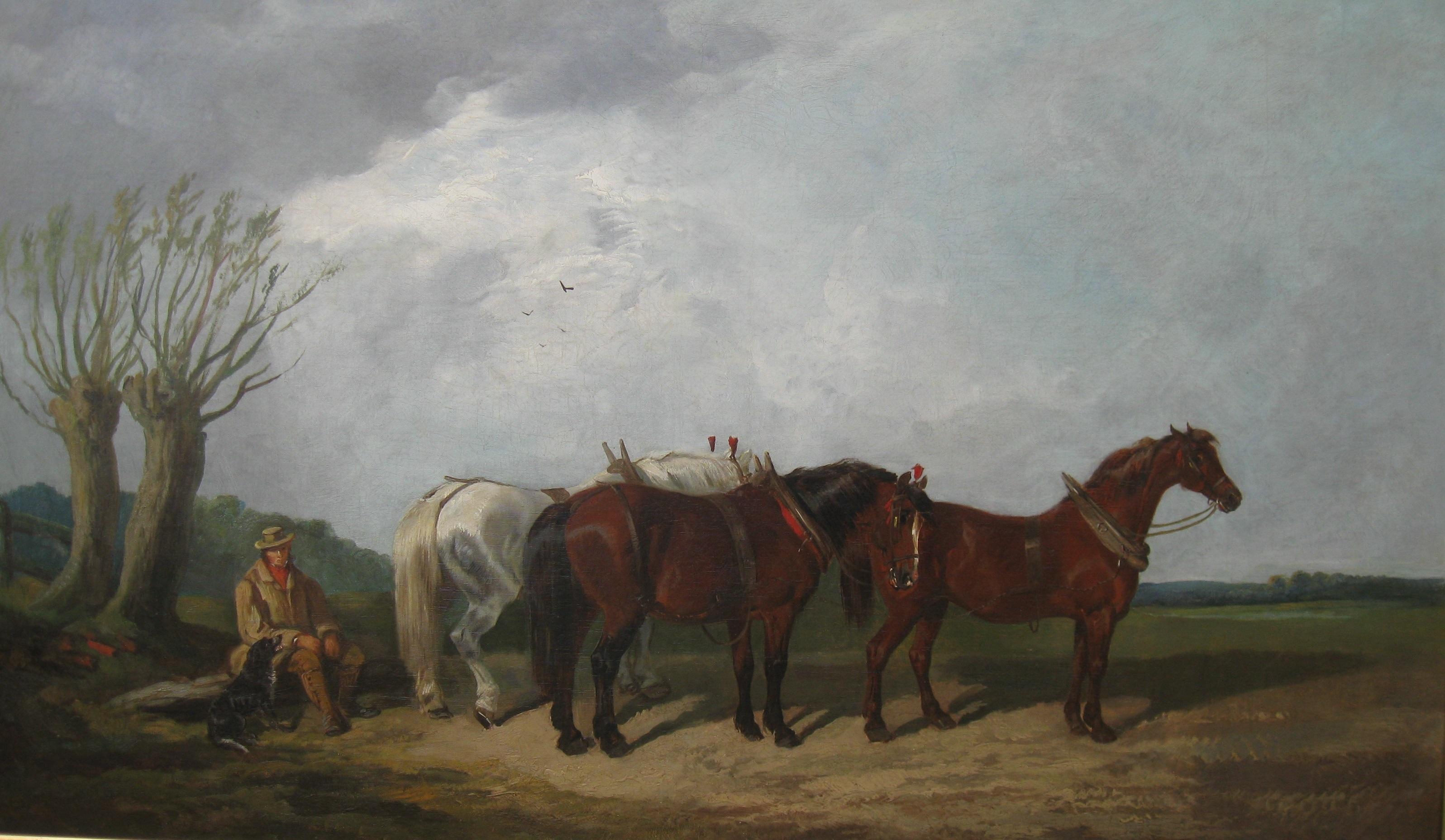 Fine Antique: 'Suffolk Horses in a Landscape, ' Very Large oil  circa 1910