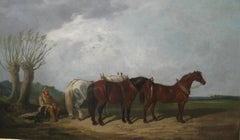 Fine Antique: 'Suffolk Horses in a Landscape, ' Very Large oil  circa 1910