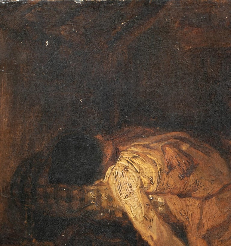 Suicide, 19th Century  - Black Portrait Painting by Unknown