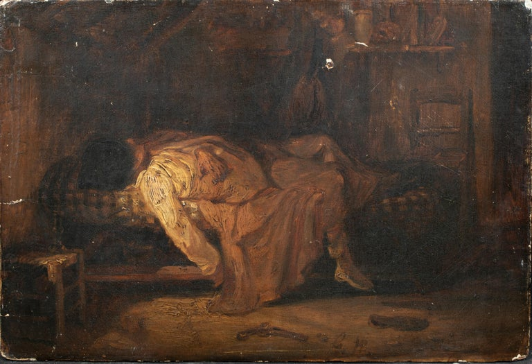 Suicide, 19th Century   Unusual European School Oil On Panel  19th century European School interior scene of an artists suicide, oil on panel. Beautifully painted melancholy interior scene of the body of an artist lying in a bed with a pistol on the