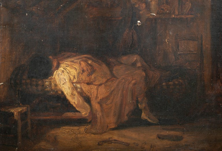 Unknown Portrait Painting - Suicide, 19th Century