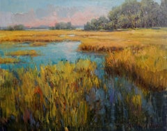 Summer Marsh, Plein Air Landscape Original Fine Art Oil on Linen Canvas