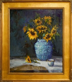 Sunflower Day, Plein Air Original Fine Art Gold Frame Oil on Linen Canvas