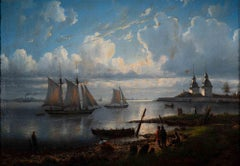 Sunrise Landscape with Boats - Original Oil Painting Russian School  - 1861