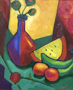 SUPERB SPANISH SIGNED OIL - WATERMELON WITH FRUIT & FLOWERS STILL LIFE PAINTING