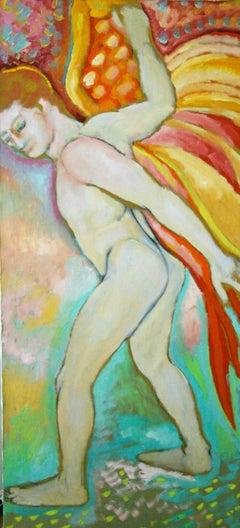 Surreal Oil on Large Canvas Angel Deliverance