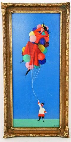 Surrealist Balloon Seller Figurative Painting