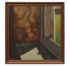 Surrealist Interior Window Scene with Bird Signed Mantooth