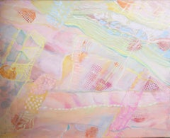 Susan Paine - 20th Century Oil, Abstract Pink & Yellow