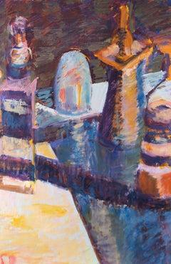 Susan Paine - Contemporary Oil, Still Life in Purple & Orange