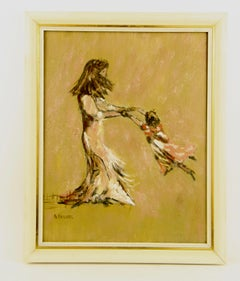 Swing Mother and Daughter Figurative Painting