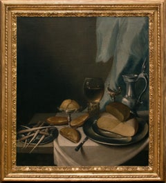 Table with food and Pottery- Oil on Canvas by Flemish Artist 17th Century