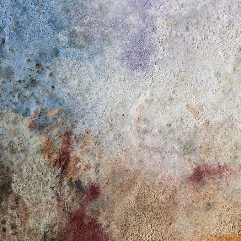 Terra Bruciata (Scorched Earth) #57 - Small abstract purple and blue painting For Sale 1