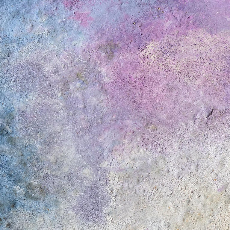 Terra Bruciata (Scorched Earth) #57 - Small abstract purple and blue painting For Sale 2