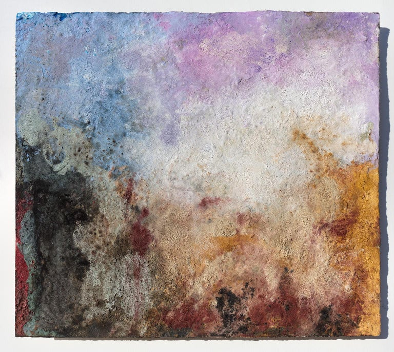 "Orazio De Gennaro's ""Terra Bruciata (Scorched Earth) #57"" is a 11 x 13 inch abstract painting on paper mounted on a board. Unframed. The artist works with natural earths, charcoal, straw, pigments, lime paint, shellac and fire on 400 lb water color"