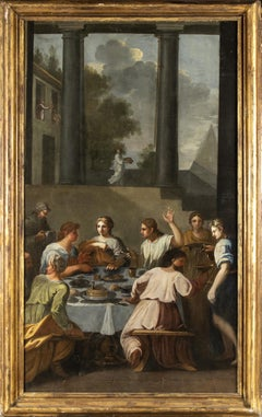 The Banquet of The Rich Epulone Large Oil On Canvas Figurative Painting 18th
