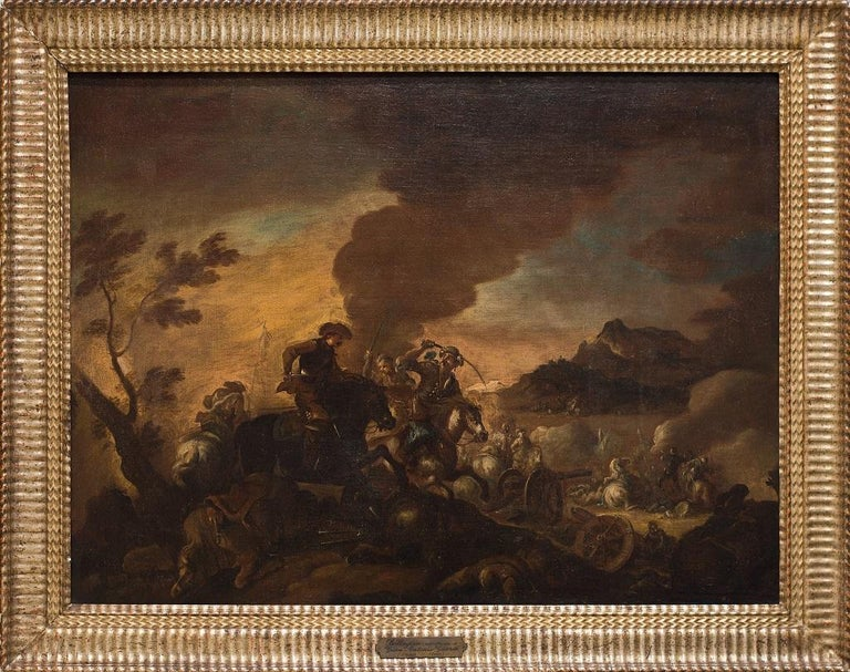 Unknown Figurative Painting - The Battle - Original Oil Painting on Canvas - 17th Century