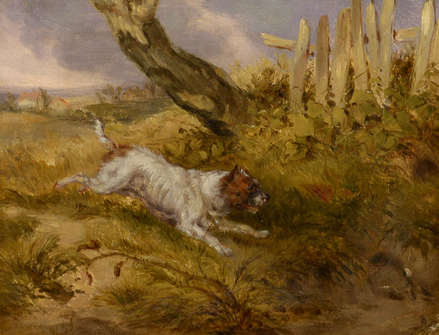 """""""The Chase,"""" monogrammed, oil, realist, British, 19th century, genre, dogs"""