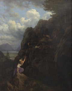 The Climbing - Oil on Canvas by Unknot Artist School of Dusseldorf -19th Century