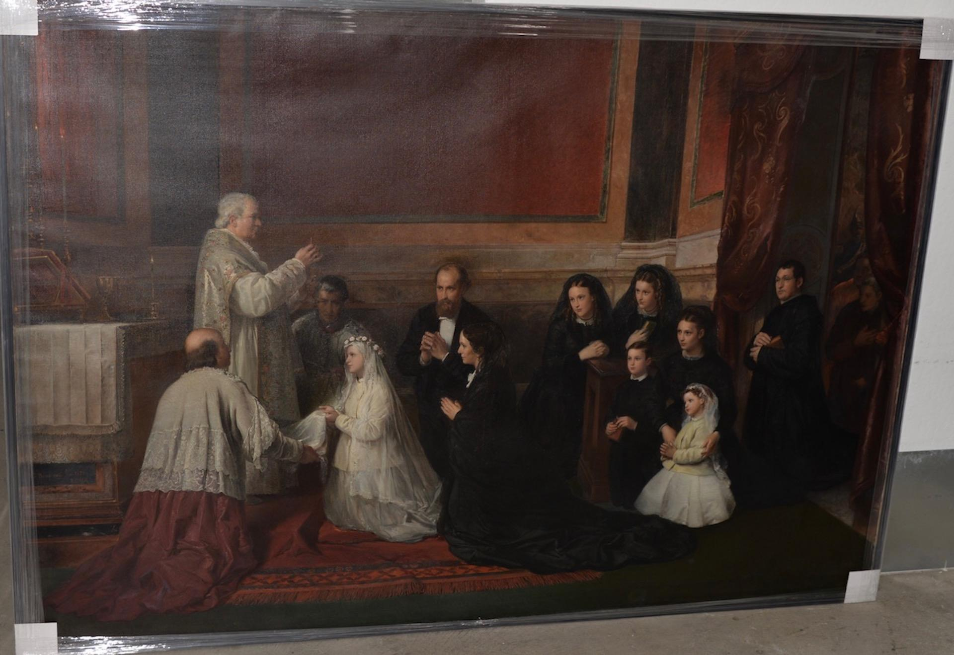 "Roberto Bompiani ""The Confirmation"" Museum Quality Large Scale Oil Painting"