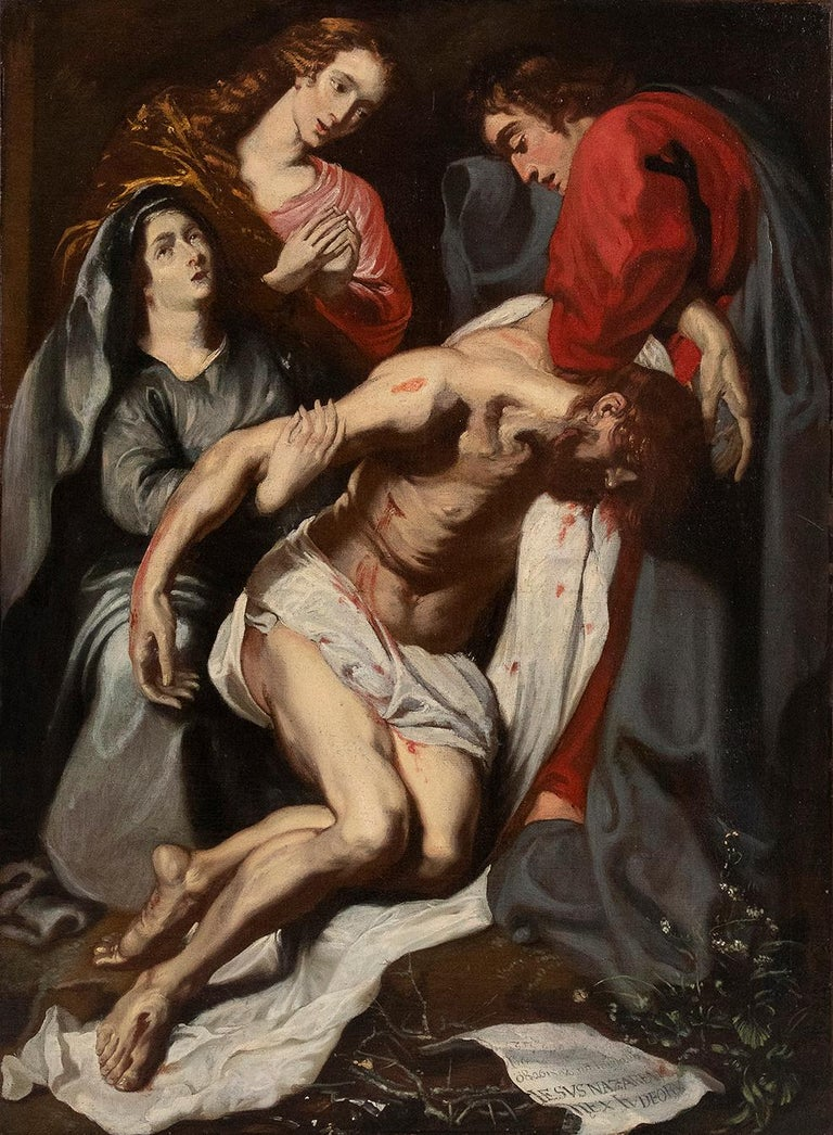 Unknown Figurative Painting - The Deposition  - Oil on Canvas Atelier of Antoon Van Dyck - Early 17th Century
