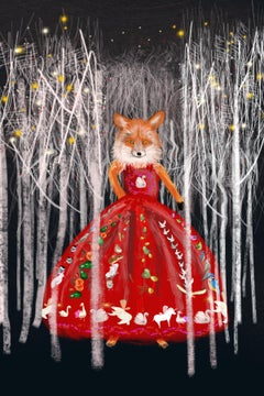 The Dress print, fox in a dress, john lewis illustrator, excellent art reviews