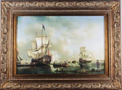 The Evening Gun - Fine Historical Naval Fleet at Sea Large Oil Painting
