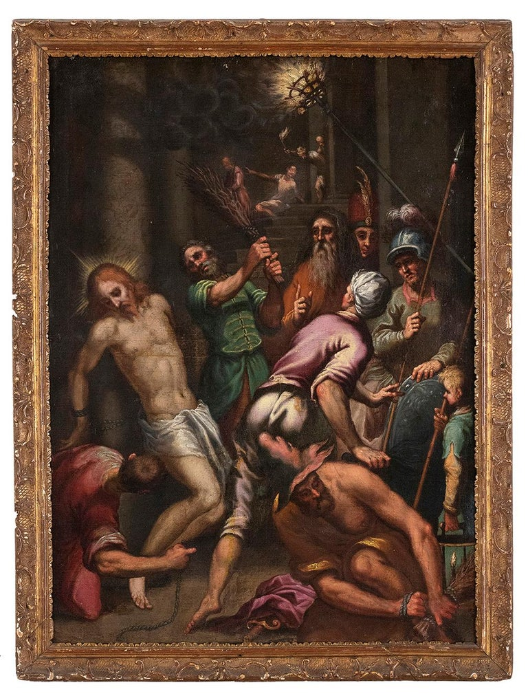 The Flagellation  - Oil on Canvas Atelier of Palma The Younger - Late 1500 - Painting by Unknown
