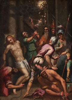 The Flagellation  - Oil on Canvas Atelier of Palma The Younger - Late 1500