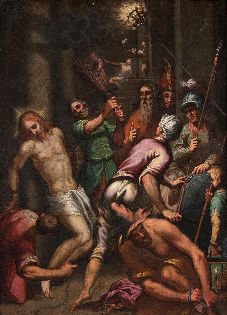 Unknown Figurative Painting - The Flagellation  - Oil on Canvas Atelier of Palma The Younger - Late 1500