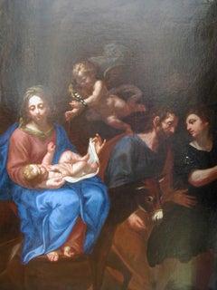 The Flight of the Holy Family to Egypt, Oil on canvas, Italian school circa 1680
