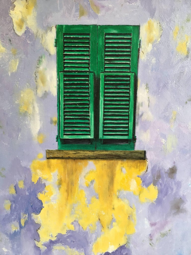 The Green Window, Abstract Oil, British Artist  - Abstract Impressionist Painting by Unknown