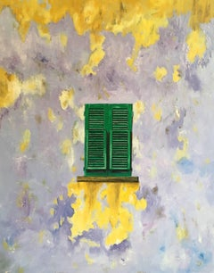 The Green Window, Abstract Oil, British Artist