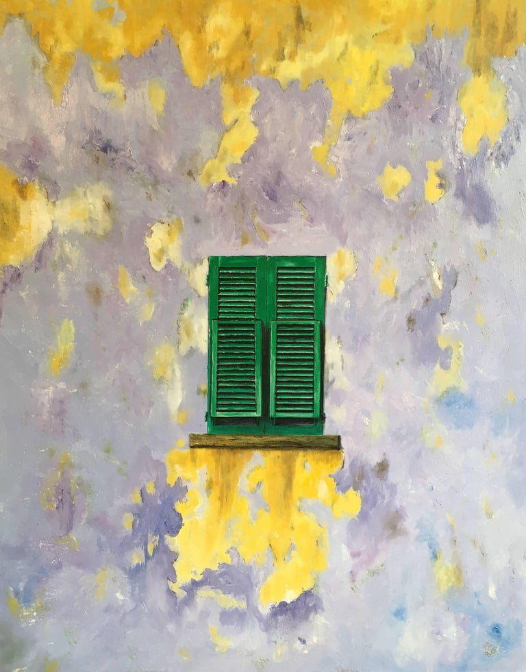 Unknown Interior Painting - The Green Window, Abstract Oil, British Artist