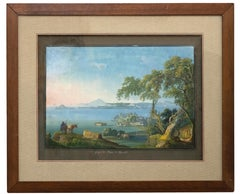 The Gulf and the Bay of Pozzuoli - Original Neapolitan Gouache - 19th Century