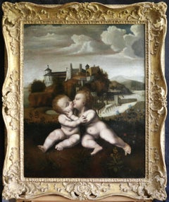 The Holy Infants Embracing - 16th Century Italian Old Master Oil