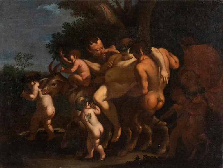 Unknown Figurative Painting - The Inebriation of Bacchus, Oil on Canvas Atelier of Giulio Carponi, 1600