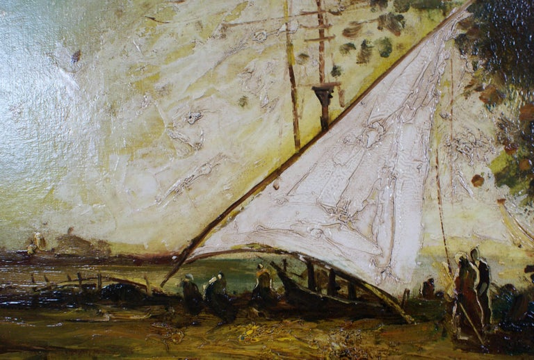 The Mooring - Barbizon School Painting by Unknown