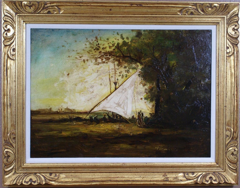 Unknown Landscape Painting - The Mooring