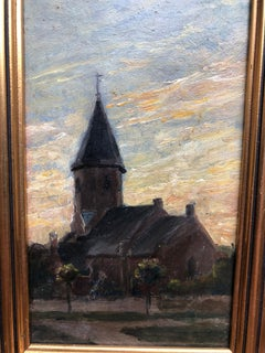 The Old Church Tonalist Oil Painting
