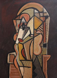 'The Opera Singer', Mid-Century Modern Cubist Oil Portrait Painting, Berlin