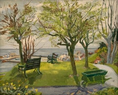 The Park Bench overlooking the Sea Mid Century English Oil Painting