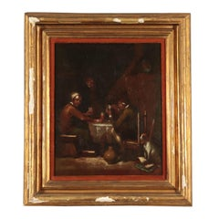 The players of Cards, Oil on Metal Plate, 19th Century