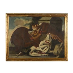 The Puma's Assault Oil on Canvas Painting 18th Century